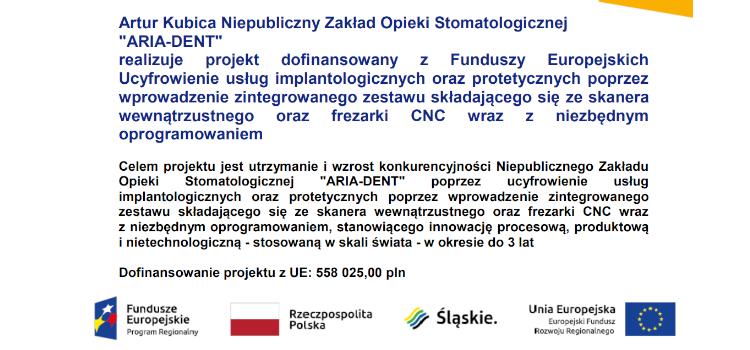 Realizacja projektu dofinansowanego zFunduszy Europejskich